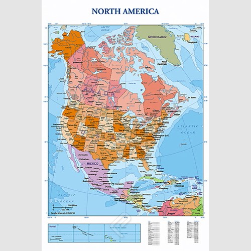 Poster - Modern Map of North America