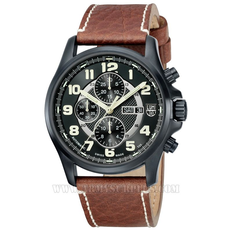 LUMINOX Luminox, Valjoux Field Automatic Chronograph Series A.1867 Watch, 48mm, White on Black, Black Case, Leather Strap