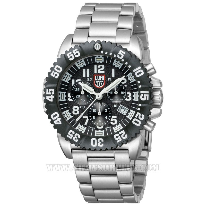 LUMINOX Luminox, Steel Colormark Chronograph Series A.3182 Watch, 44mm, White on Black, Stainless Case, Steel Strap