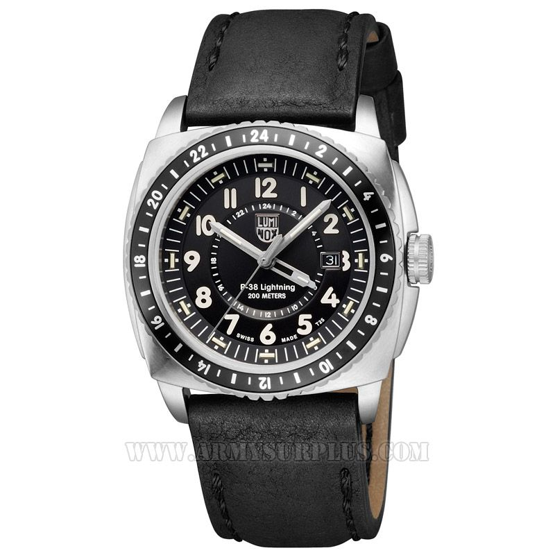 LUMINOX Luminox, P-38 Lightning Series A.9421 Watch, 45.5mm, White on Black, Stainless Case, Leather Strap
