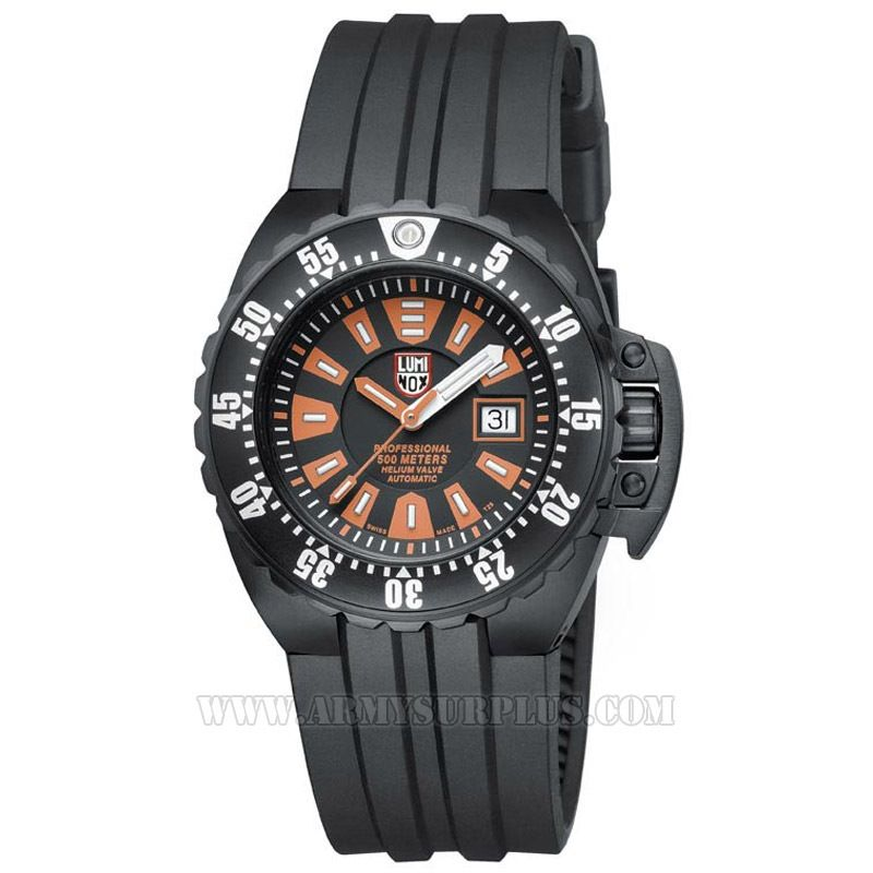 LUMINOX Luminox, Deep Dive Automatic Series A.1509 Watch, 44mm, Orange on Black, Black Case, Rubber Strap