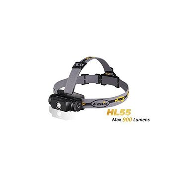 FENIX The Fenix HL55 headlamp offers four brightness levels plus 900-lumen burst mode and 150-hour runtime from one 18650 battery or two CR123A batteries.  Neutral white light means superior definition and penetration in high-humidity environments.  A 380 foot/