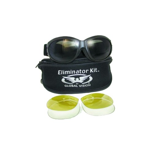 GLOBAL VISION Goggle - Eliminator Kit - c/w  Clear - Smoke and Yellow Tint Lenses