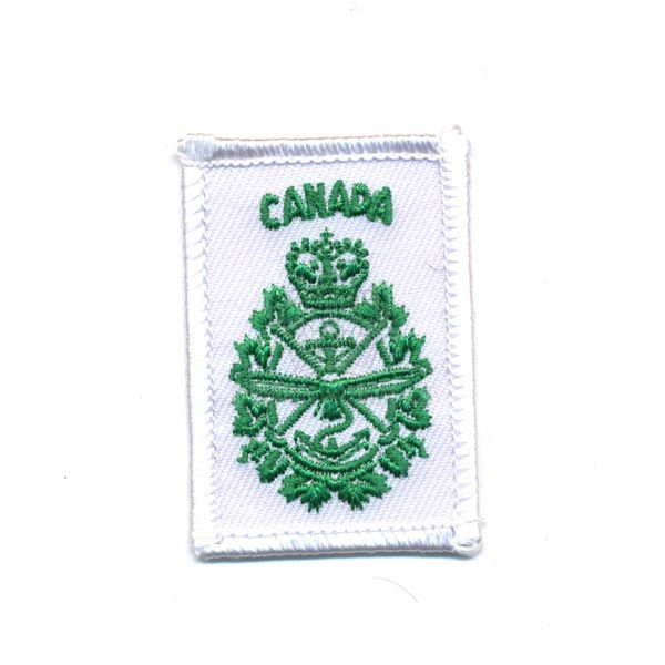Canadian Forces Crest Patch, Green on White