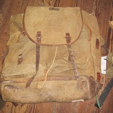GENUINE SURPLUS Backpack, Large Alpine Rucksack, Austrian Police Issue,  [Occupation Forces] '40s-'50s Era, Canvas, Leather