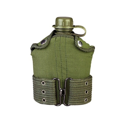 ROTHCO Canteen, Plastic, 1L, w/ Cover & Pistol Belt