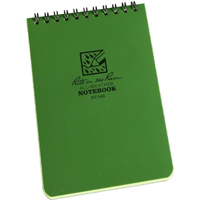 RITE IN THE RAIN Rite in the Rain, Universal Polydura Notebook, 4'' x 6'', Olive Drab