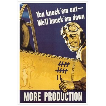 Poster - You Knock''em Out We''ll Knock''em Down - 1942 - Giclee Print on Photo Paper
