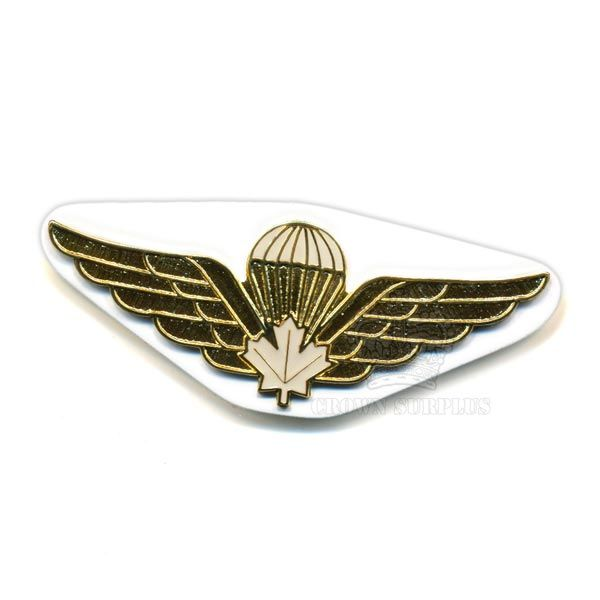Badge - Wing - Airborne - Maple Leaf - CDN - White Metal