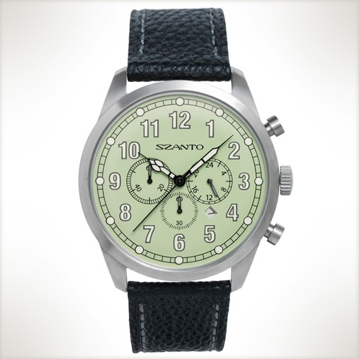 Szanto, 2003 3 Eye Chronograph + Date Movement, Green/Black Vintage