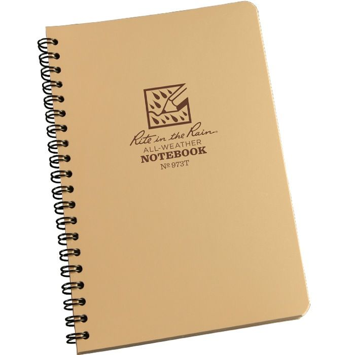RITE IN THE RAIN Rite in the Rain, Universal Polydura Notebook, 4 5/8'' x 7'', Tan