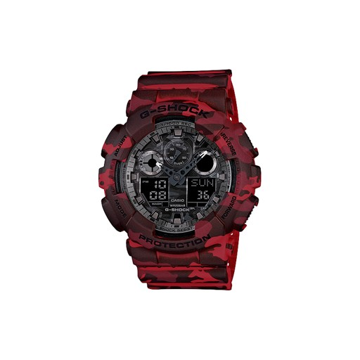 G-Shock If camouflage on the dial weren't enough, G-SHOCK turns things up a notch this season with the GA100CM by going all-over camo. The new GA100CM collection, from the popular XL GA100 series, features a woodland camouflage pattern for the band, case and dial