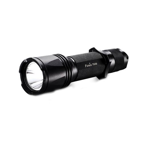 "FENIX Discontiued Final Sale No Returns                       The Fenix TK09 Flashlight drives output to 450 lumens and features a proprietary ""tactical tap"" switch system.  With instant access to momentary on, constant on and output selection, this tail cap fu"