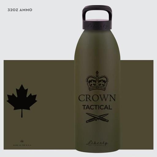 LIBERTY Liberty Bottleworks, Crown Tactical Water Bottle, Ammo, 32 oz, Standard Black Cap