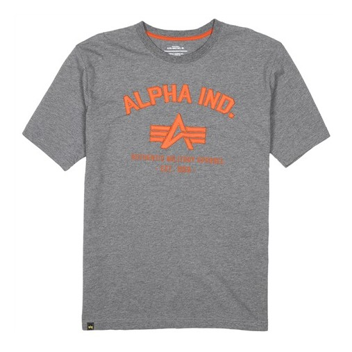 ALPHA INDUSTRIES INC. Alpha Industries, Military Apparel Tee, T-shirt, Grey with Orange