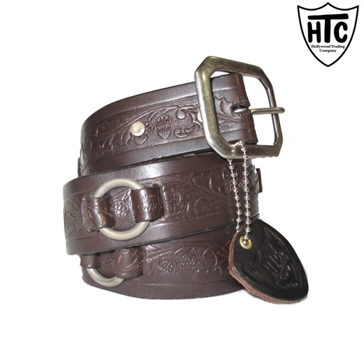 HTC Hollywood Trading Company, O-Ring Belt, Dark Chocolate, Antique Nickel