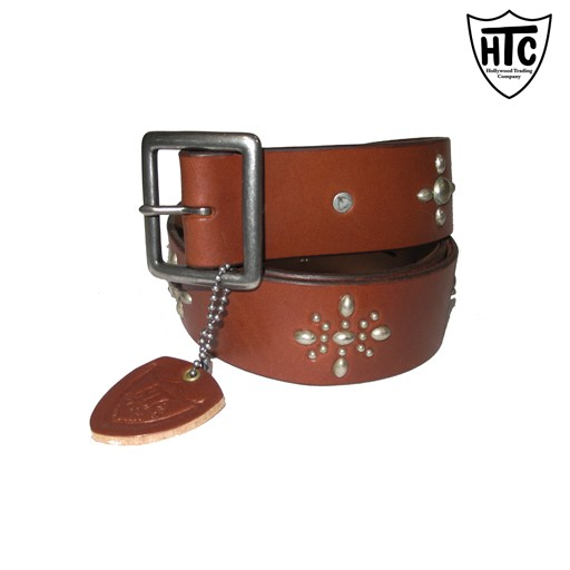 HOLLYWOOD TRADING CO. HTC Hollywood Trading Company, Classic Brown Belt, Brown Leather, Antique Brass