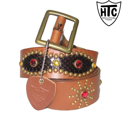 HOLLYWOOD TRADING CO. HTC Hollywood Trading Company, Snake Peanut Belt, Brown, Antque Brass