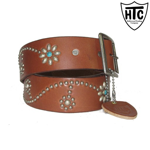 HOLLYWOOD TRADING CO. HTC Hollywood Trading Company, Flower Vine Belt, Brown, Antique Brass