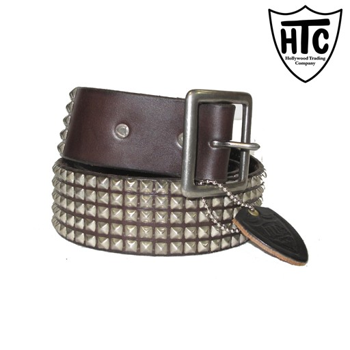 HOLLYWOOD TRADING CO. HTC Hollywood Trading Company, Pyramid Belt, Dark Chocolate, Antique Nickel