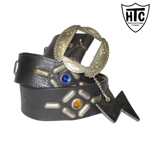 HOLLYWOOD TRADING CO. HTC Hollywood Trading Company, Irregular Belt, Black, Antique Nickel