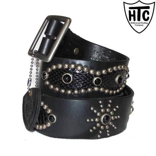HOLLYWOOD TRADING CO. HTC Hollywood Trading Company., Snake Peanut Belt, Black, Antique Nickel