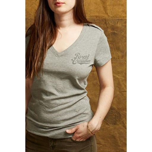RED CANOE Red Canoe, Ladies RCAF V-Neck T-Shirt, Subdued, Grey