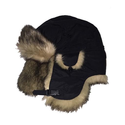 CROWN CAP Crown Cap, Taslan Aviator with Faux Blue Fox Fur Trim