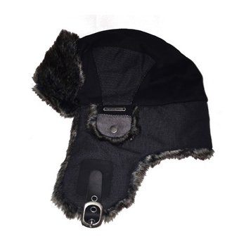 CROWN CAP Crown Cap, Brushed Cotton Twill Aviator with Faux Fur, Chrcoal Black
