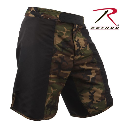 ROTHCO Rothco MMA Fighting Shorts, Woddland/Black