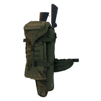 EBERLESTOCK The GS05M Gunslinger is a 2700 cubic inch pack, with extraordinary features that set it apart from any other mid-size pack.  The Backscabbard™ is wide enough to hold most rifles, including assault rifles and rifles with large scopes.  Above left, the GS05