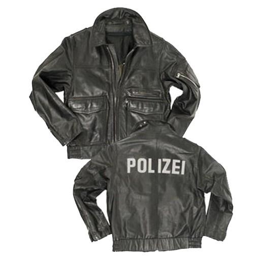 GENUINE SURPLUS German ''Polizei' Leather Jacket, BGS, Black