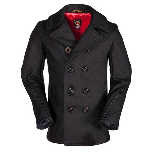 SCHOTT NYC Schott N.Y.C, Classic Wool Navy Pea Coat with Leather Trim, Slim Fit