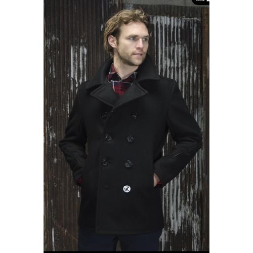 SCHOTT NYC Schott N.Y.C, Classic Wool Navy Pea Coat with Leather ...