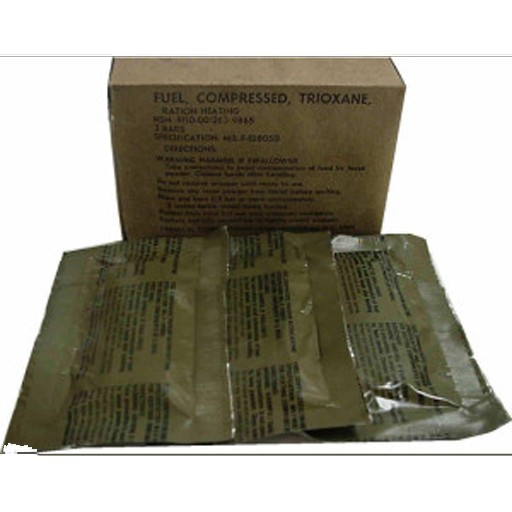 GENUINE SURPLUS Genuine US Issue, Fuel, Compressed, Trioxane Bars, Box of 3