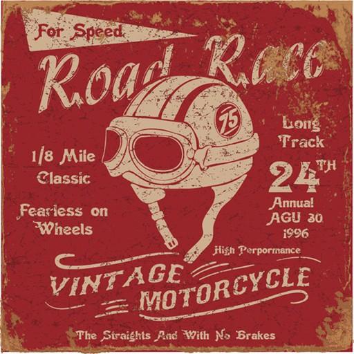 EUROGRAPHICS Poster, Vintage Motorbike Race Label