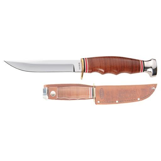 KA-BAR KA-BAR, Leather Handled Hunter Knife, Plain Edge, Leather Sheath
