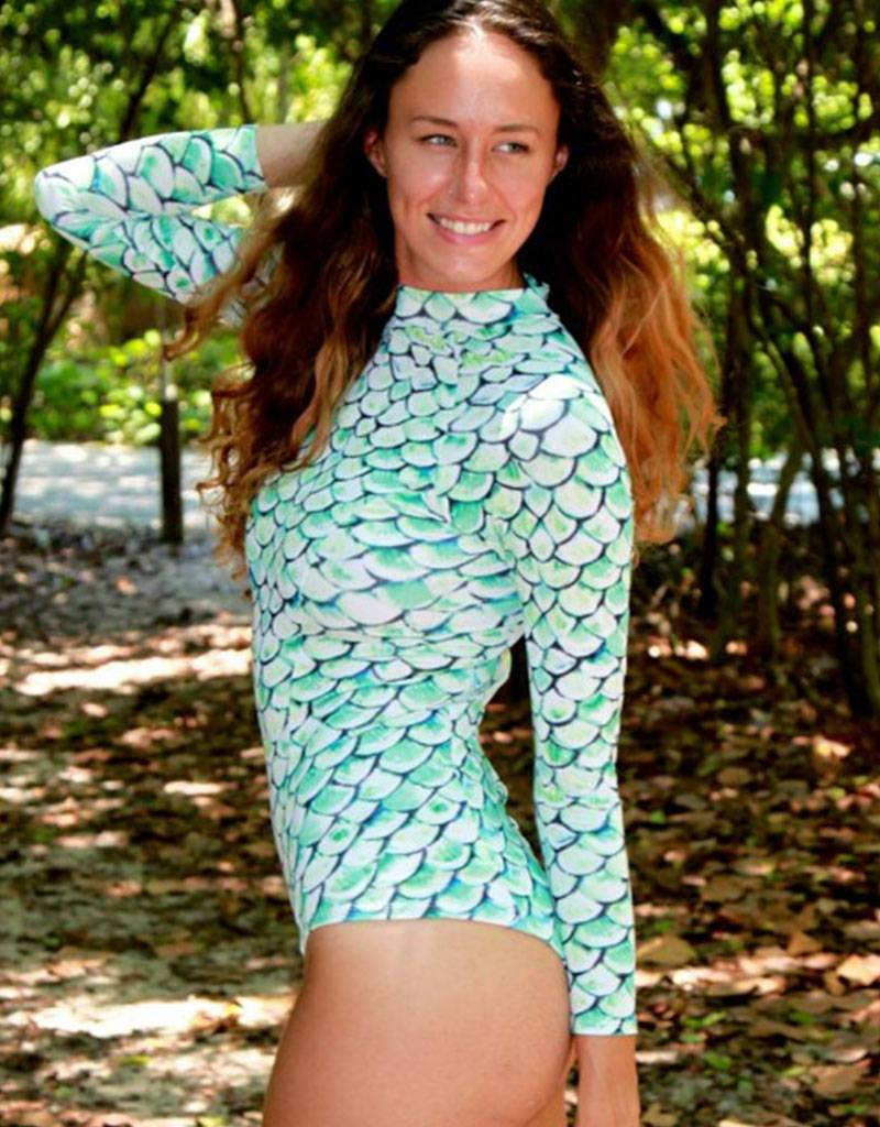 Paddleboarder Paddleboarder Mermaid One Piece w Long Sleeves