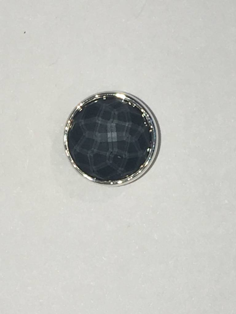 14mm Cabochon Faceted Rock Crystal on Hematite Centerpiece
