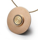 GOLD BUTTON-yellow gold wave-14mm