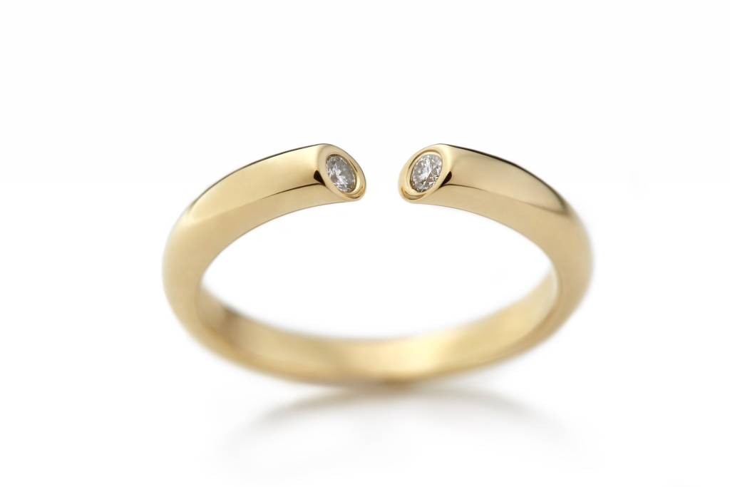 DIALOG ring gold 750/- with 2 diamonds total 0.15ct H-si, size 7/d170