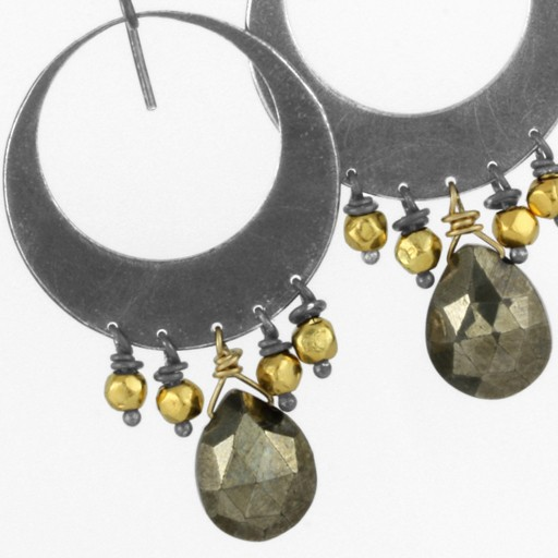 not fooling around, pyrite & gold . earrings