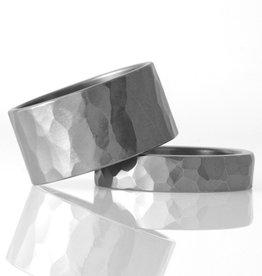 'faceted' wide stainless . ring