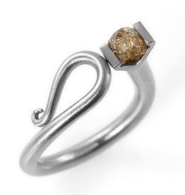 raw diamond scroll . ring