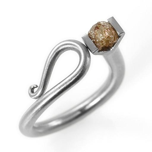 raw diamond scroll . ring