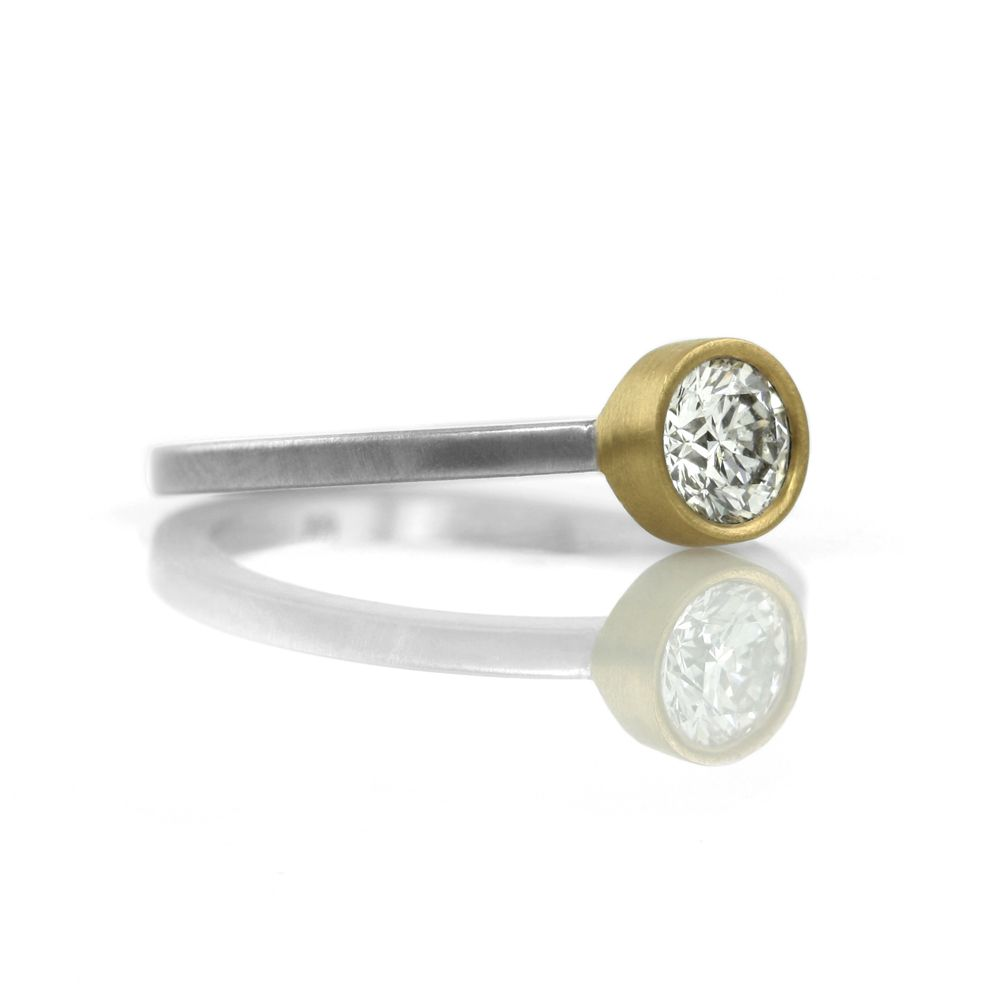 the gold bezel-set solitaire . ring