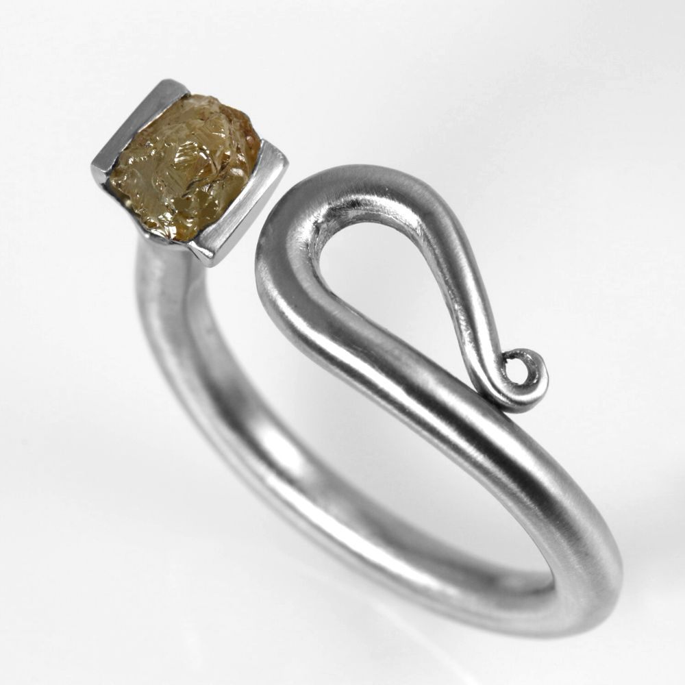 raw diamond scroll . ring . sz:6.5