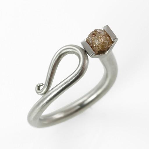 raw diamond scroll . ring  (sz:7.5)
