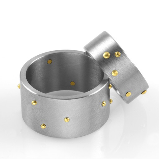 'riveted' wide band . ring