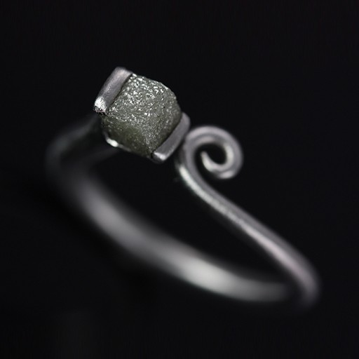 raw diamond petite scroll . ring